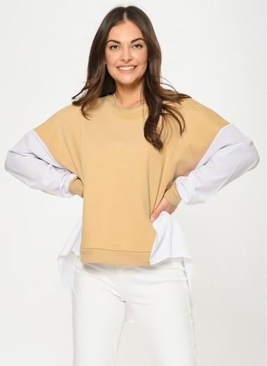 Loves You Poplin Detaylı Loose Fit Sweatshirt Camel